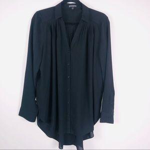 EXPRESS Black Button Down Blouse Size Large